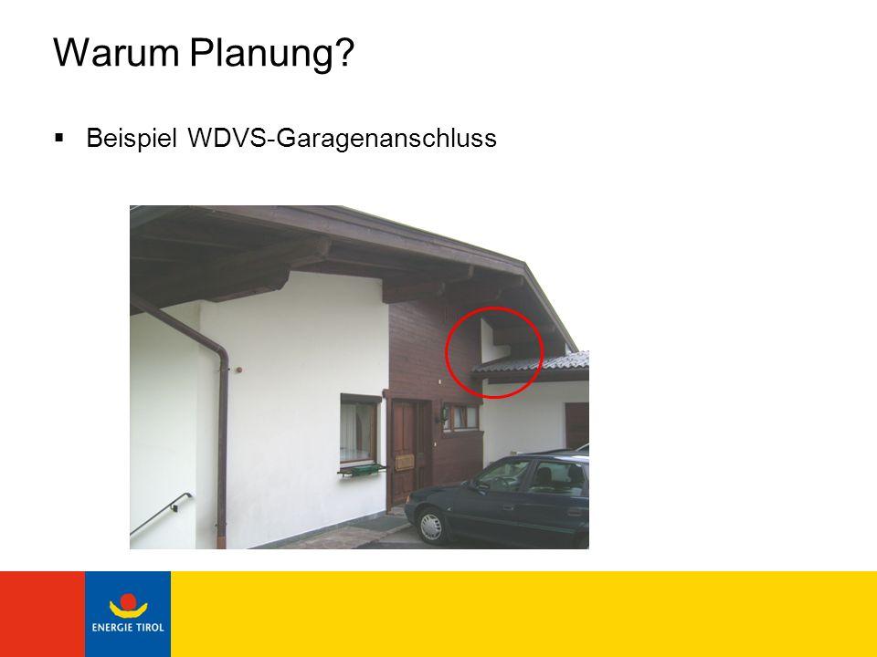 Warum Planung? Beispiel WDVS-Garagenanschluss