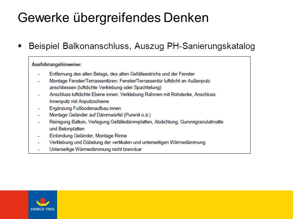 Gewerke übergreifendes Denken Beispiel Balkonanschluss, Auszug PH-Sanierungskatalog