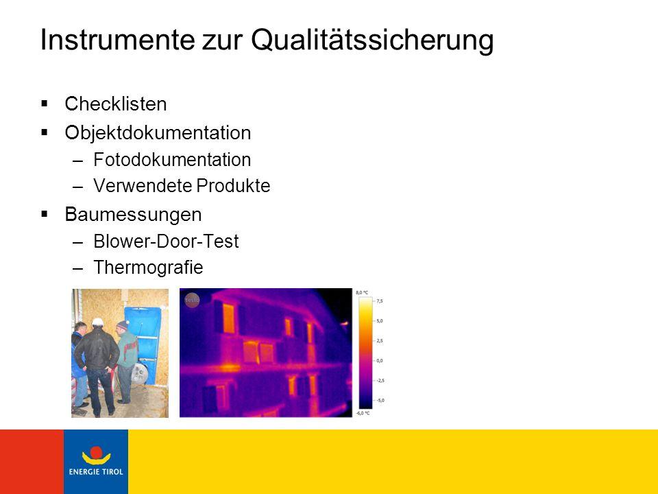 Instrumente zur Qualitätssicherung Checklisten Objektdokumentation –Fotodokumentation –Verwendete Produkte Baumessungen –Blower-Door-Test –Thermografi