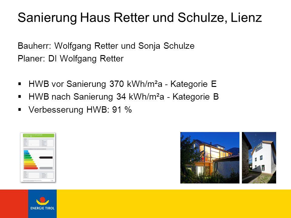 Sanierung Haus Retter und Schulze, Lienz Bauherr: Wolfgang Retter und Sonja Schulze Planer: DI Wolfgang Retter HWB vor Sanierung 370 kWh/m²a - Kategor