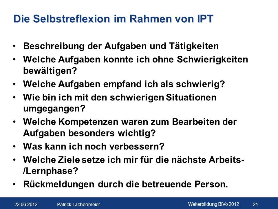 22.06.2012 Weiterbildung BiVo 2012 22 Patrick Lachenmeier Das Ausbildungs- und Leistungsprofil Angaben zur Person