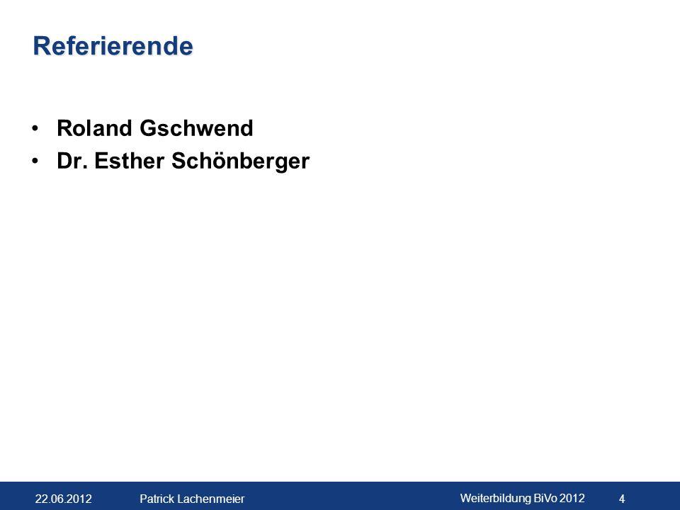 22.06.2012 Weiterbildung BiVo 2012 5 Patrick Lachenmeier Weiterbildungstagungen für die privatrechtlichen Anbieter SOG BiVo 2012: Workshop Von der Ausbildungseinheit zum Vertiefen & Vernetzen-Modul (V&V)« 19.10.2012 – 20.10.2012 BiVo 2012: Workshop Vertiefen & Vernetzen (V&V) - Konzeption, Durchführung und Bewertung 03.05.2013 Weitere Angebote im Sprachbereich Buchbar unter: www.cb.ehb-schweiz.ch