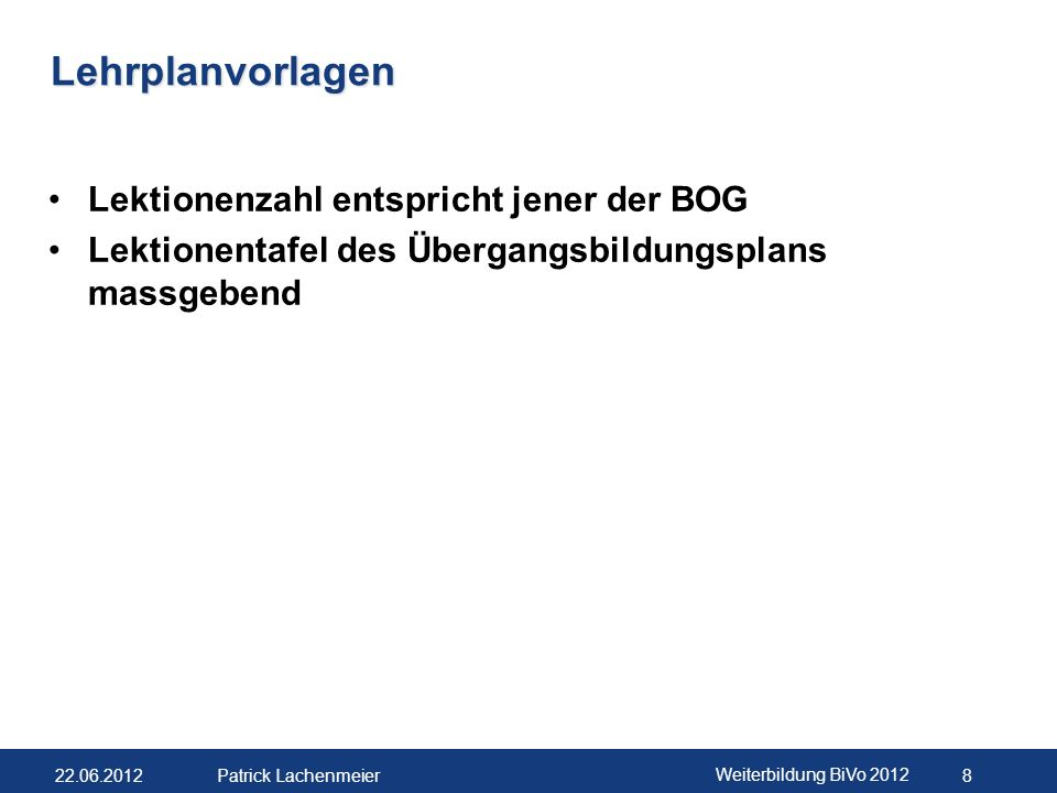 22.06.2012 Weiterbildung BiVo 2012 9 Patrick Lachenmeier Schweizerische Kommission für Berufs- entwicklung und Qualität (SKBQ) (Art.