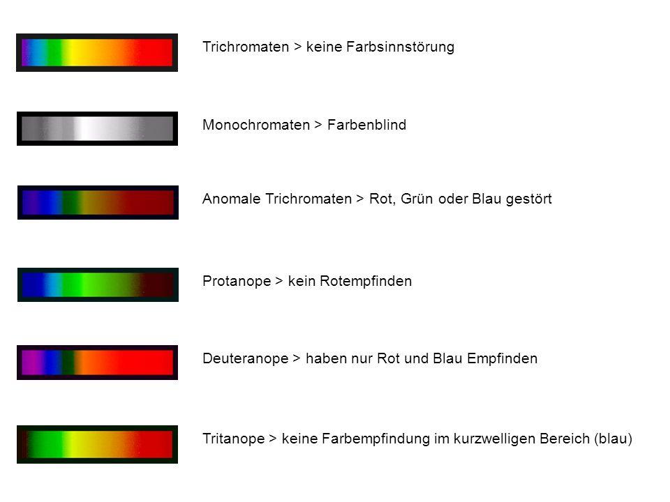 Trichromaten > keine Farbsinnstörung Monochromaten > Farbenblind Anomale Trichromaten > Rot, Grün oder Blau gestört Protanope > kein Rotempfinden Deut