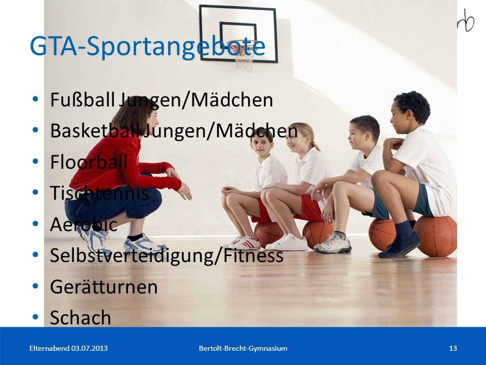 GTA-Sportangebote Fußball Jungen/Mädchen Basketball Jungen/Mädchen Floorball Tischtennis Aerobic Selbstverteidigung/Fitness Gerätturnen Schach Elterna