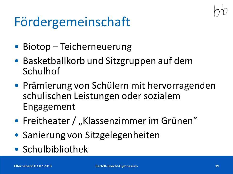 Fördergemeinschaft Biotop – Teicherneuerung Basketballkorb und Sitzgruppen auf dem Schulhof Prämierung von Schülern mit hervorragenden schulischen Lei