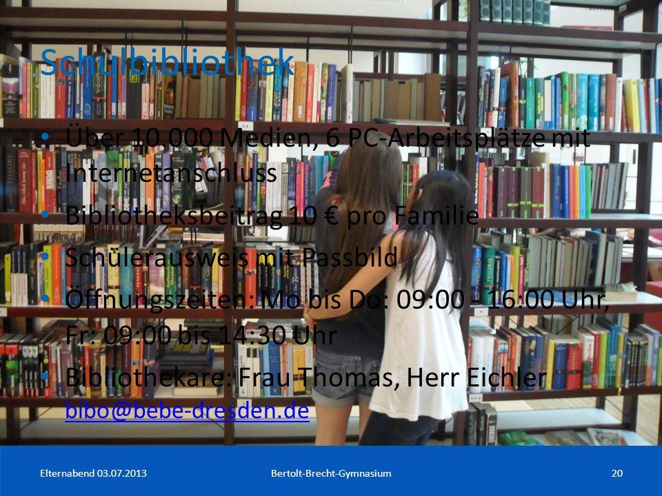 Schulbibliothek Über 10.000 Medien, 6 PC-Arbeitsplätze mit Internetanschluss Bibliotheksbeitrag 10 pro Familie Schülerausweis mit Passbild Öffnungszei