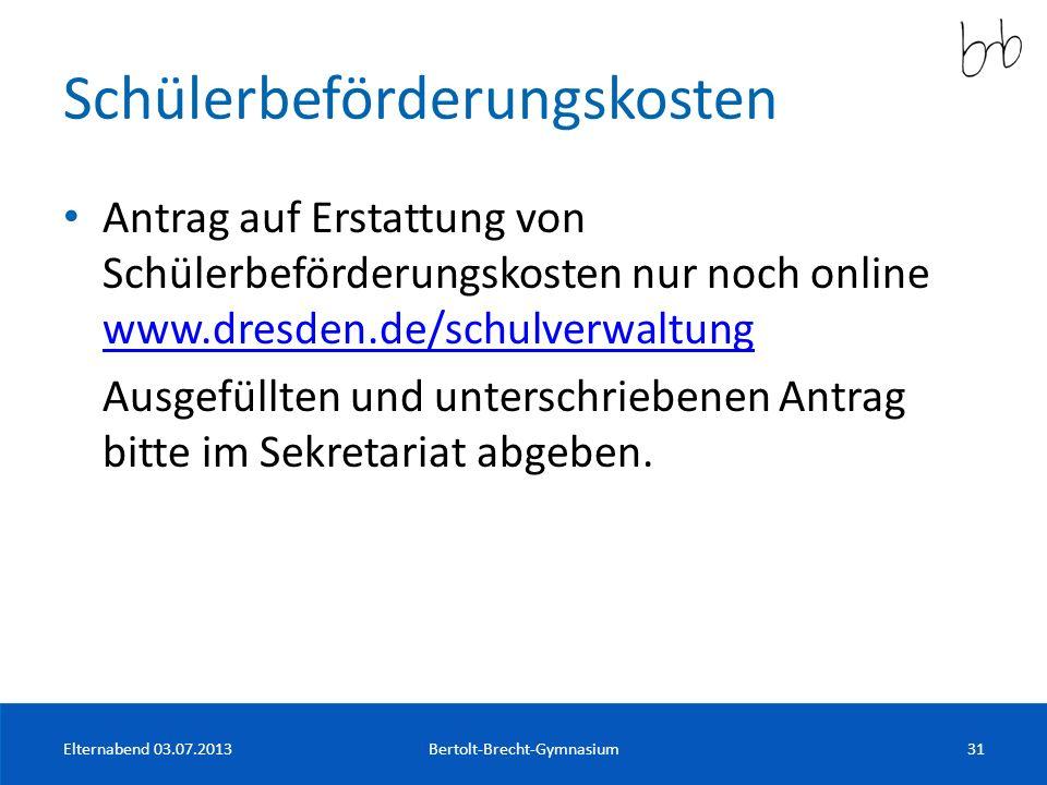 Schülerbeförderungskosten Antrag auf Erstattung von Schülerbeförderungskosten nur noch online www.dresden.de/schulverwaltung www.dresden.de/schulverwa