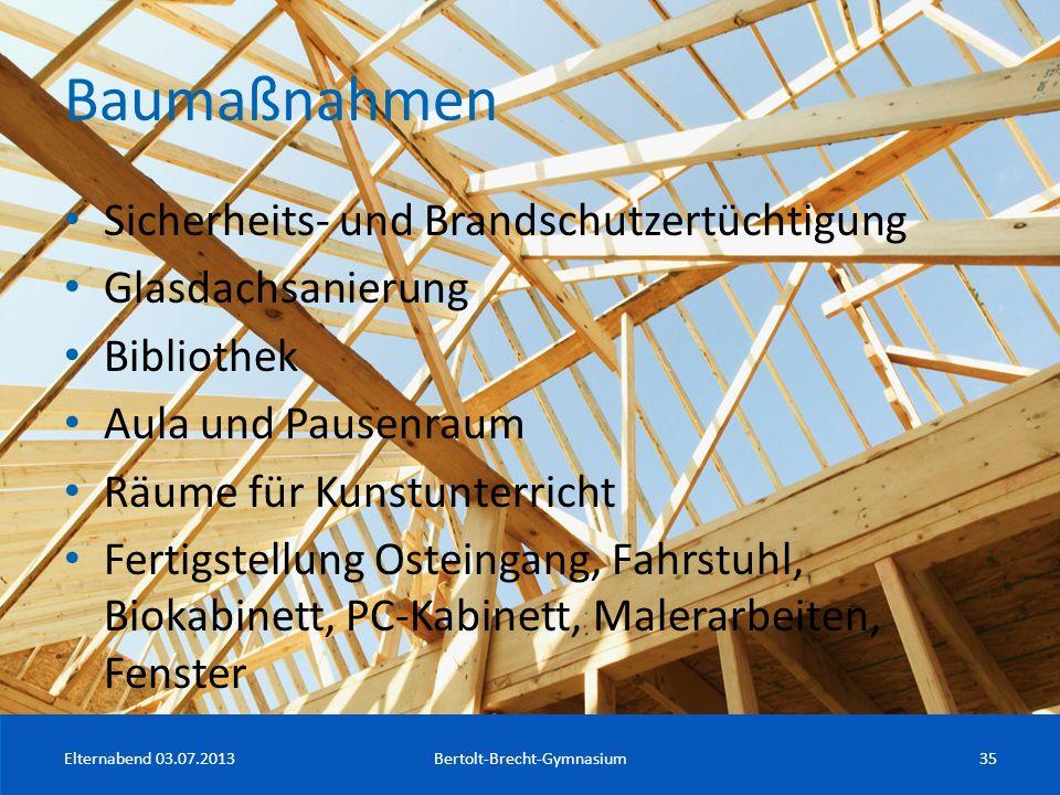 Baumaßnahmen Sicherheits- und Brandschutzertüchtigung Glasdachsanierung Bibliothek Aula und Pausenraum Räume für Kunstunterricht Fertigstellung Ostein