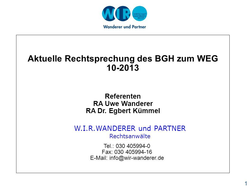 1 Referenten RA Uwe Wanderer RA Dr.