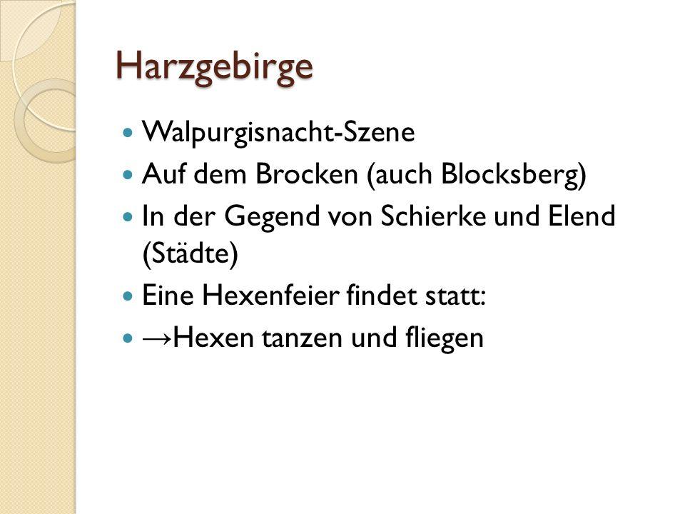 Harzgebirge Walpurgisnacht-Szene Auf dem Brocken (auch Blocksberg) In der Gegend von Schierke und Elend (Städte) Eine Hexenfeier findet statt: Hexen t