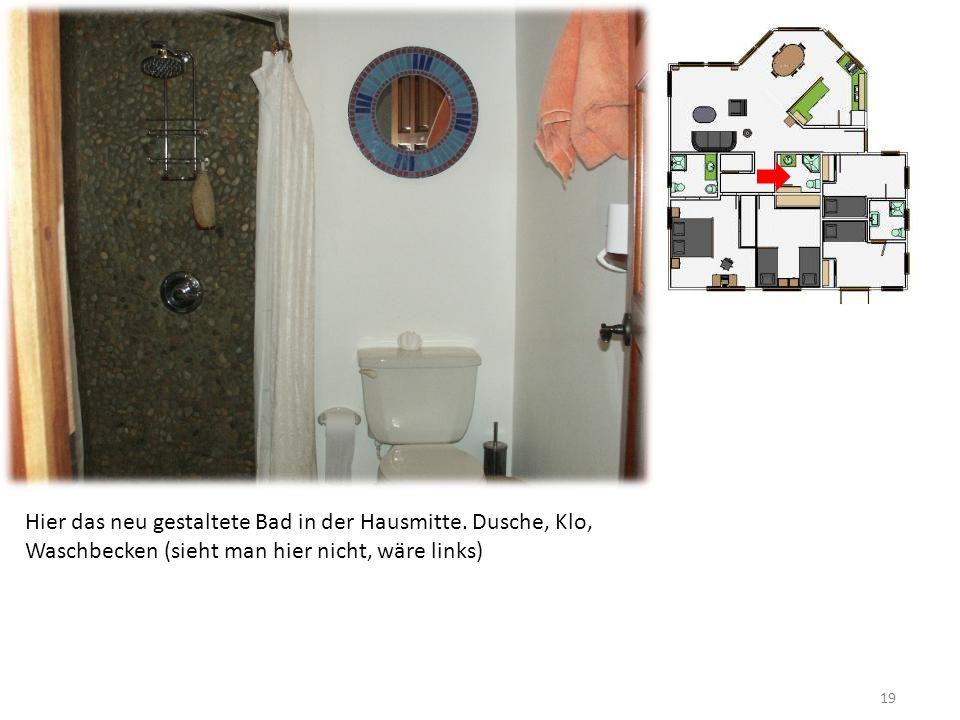 19 Hier das neu gestaltete Bad in der Hausmitte.