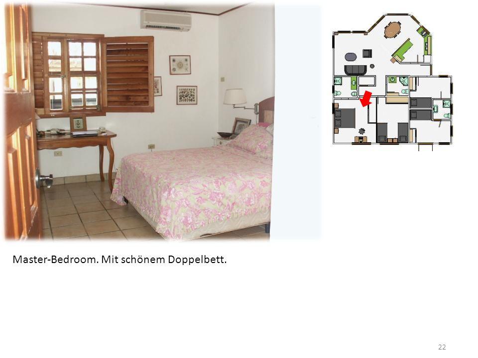 22 Master-Bedroom. Mit schönem Doppelbett.