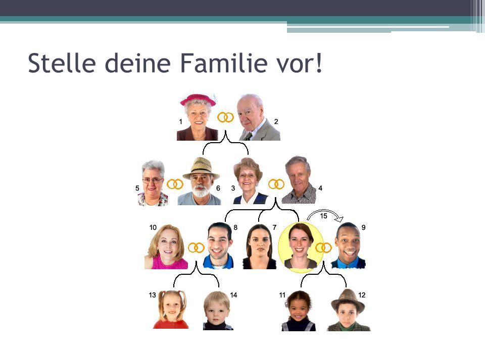 Stelle fünf Verwandte vor! (2-3 Sätze, ca. 20 Wörter pro Person) VerwandteVorstellung