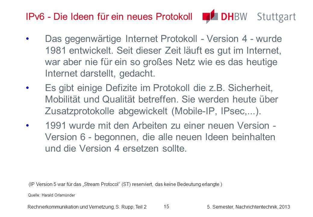 5. Semester, Nachrichtentechnik, 2013 Rechnerkommunikation und Vernetzung, S. Rupp, Teil 2 15 IPv6 - Die Ideen für ein neues Protokoll Quelle: Harald