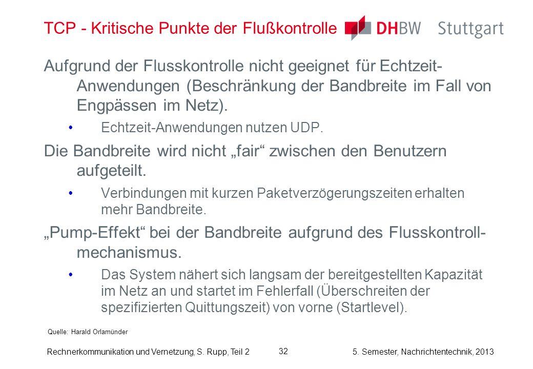 5. Semester, Nachrichtentechnik, 2013 Rechnerkommunikation und Vernetzung, S. Rupp, Teil 2 32 TCP - Kritische Punkte der Flußkontrolle Quelle: Harald