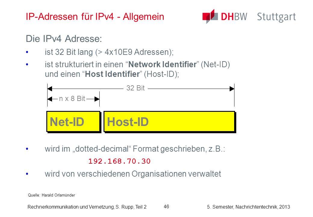 5. Semester, Nachrichtentechnik, 2013 Rechnerkommunikation und Vernetzung, S. Rupp, Teil 2 46 IP-Adressen für IPv4 - Allgemein Quelle: Harald Orlamünd