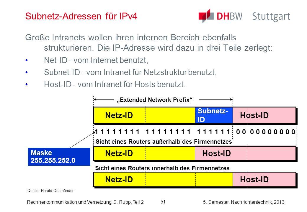 5. Semester, Nachrichtentechnik, 2013 Rechnerkommunikation und Vernetzung, S. Rupp, Teil 2 51 Subnetz-Adressen für IPv4 Quelle: Harald Orlamünder Groß