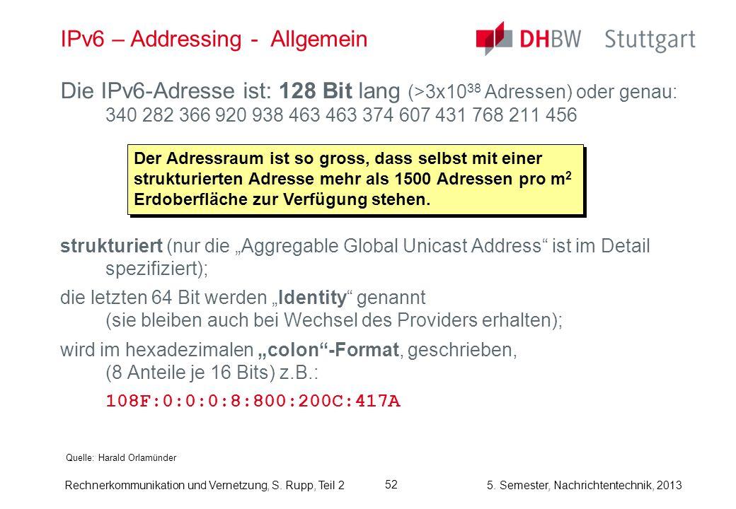 5. Semester, Nachrichtentechnik, 2013 Rechnerkommunikation und Vernetzung, S. Rupp, Teil 2 52 IPv6 – Addressing - Allgemein Quelle: Harald Orlamünder
