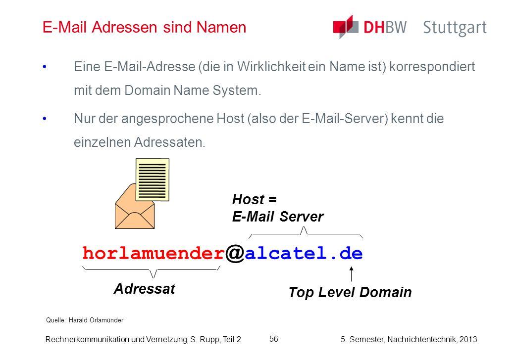 5. Semester, Nachrichtentechnik, 2013 Rechnerkommunikation und Vernetzung, S. Rupp, Teil 2 56 E-Mail Adressen sind Namen Quelle: Harald Orlamünder Ein