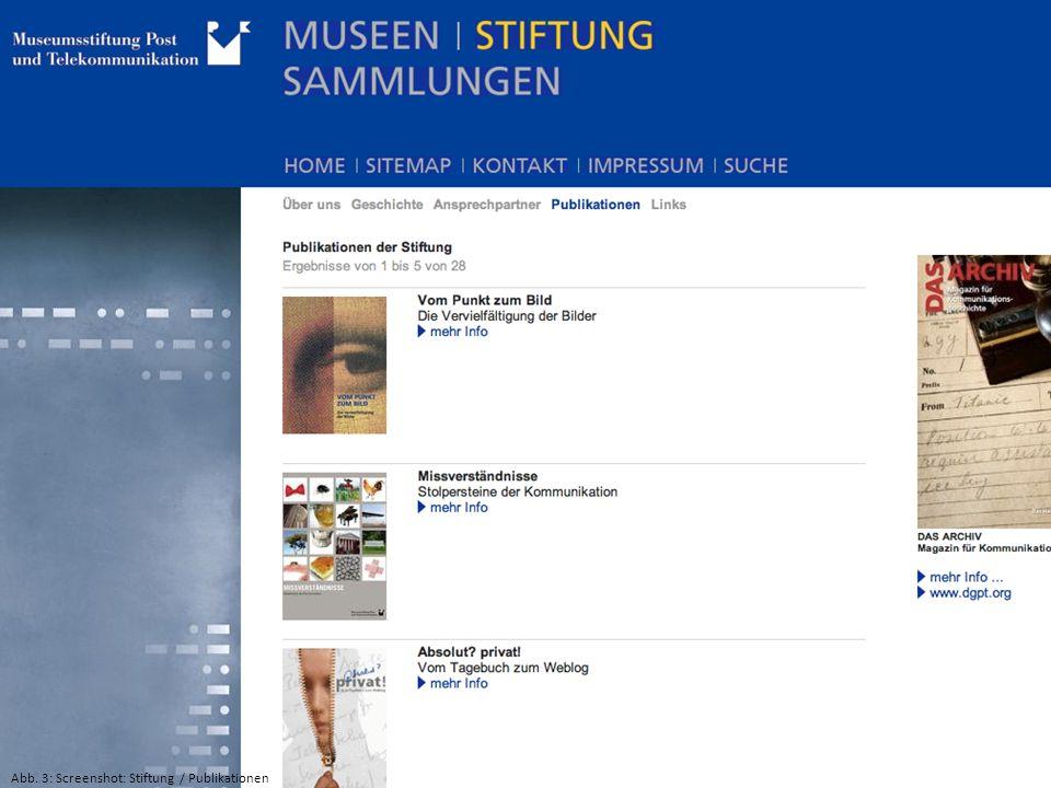 Abb. 3: Screenshot: Stiftung / Publikationen