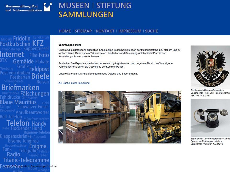 Abb. 5: Screenshot: Sammlungen online