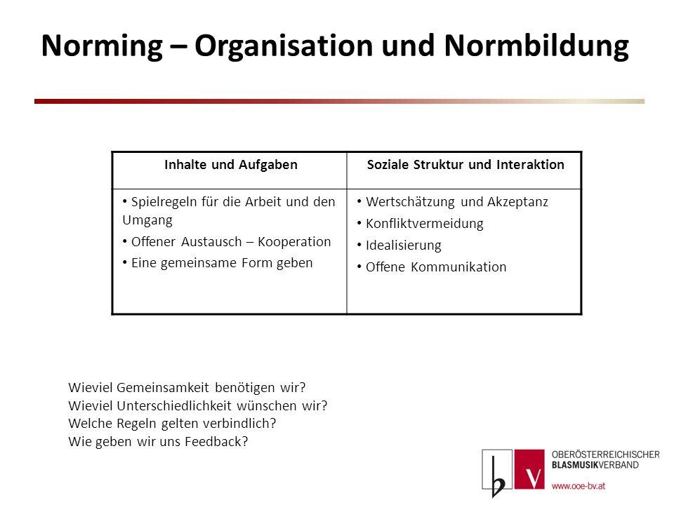 Norming – Organisation und Normbildung Inhalte und AufgabenSoziale Struktur und Interaktion Spielregeln für die Arbeit und den Umgang Offener Austausc