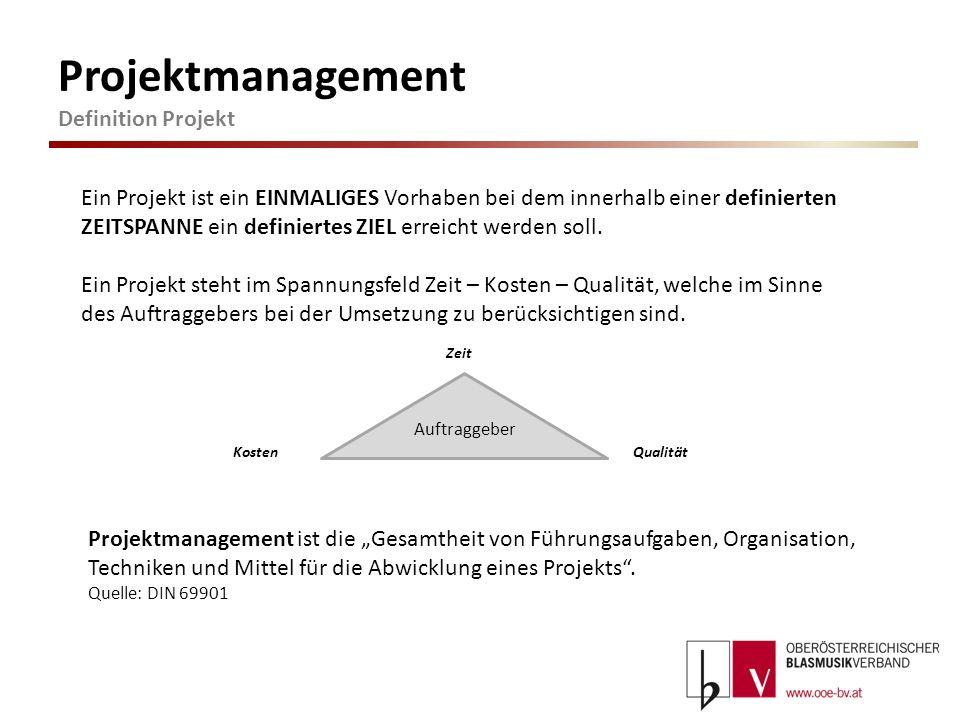 Projektmanagement Definition Projekt Ein Projekt ist ein EINMALIGES Vorhaben bei dem innerhalb einer definierten ZEITSPANNE ein definiertes ZIEL errei
