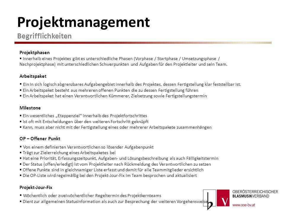 Projektmanagement Begrifflichkeiten Projektphasen Innerhalb eines Projektes gibt es unterschiedliche Phasen (Vorphase / Startphase / Umsetzungsphase /