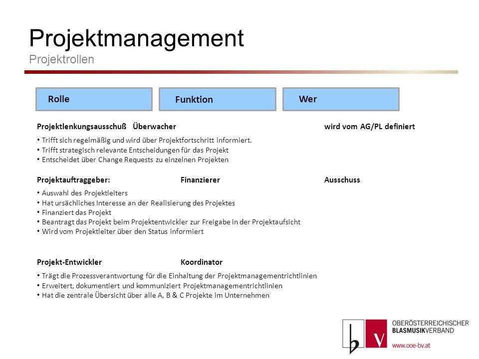 Projektmanagement Projektrollen Projektleiter:Umsetzerindividuell Projektteam setzt die geforderten Ziele um, arbeitet die geplanten Aufgaben ab Trägt die Verantwortung der Realisierung der Projektziele unter Einhaltung von Kosten/Zeit/Qualität.