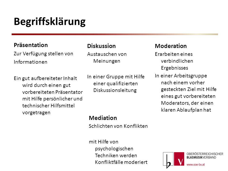 Begriffsklärung Präsentation Zur Verfügung stellen von Informationen Ein gut aufbereiteter Inhalt wird durch einen gut vorbereiteten Präsentator mit H