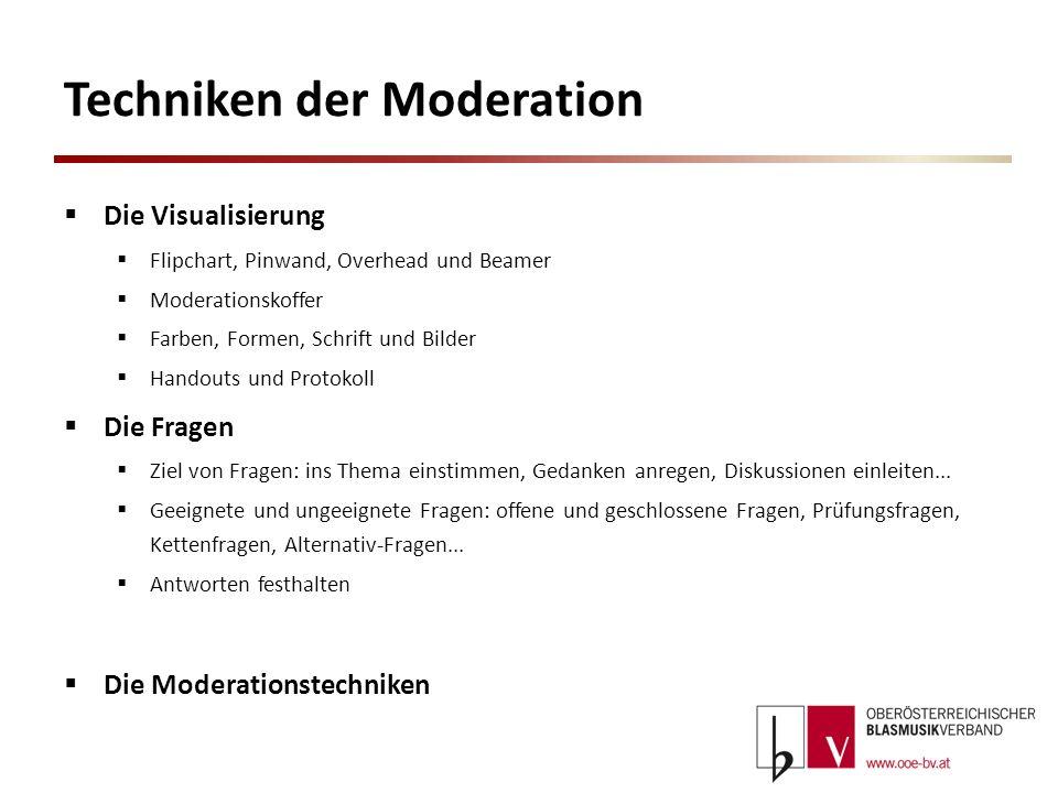 Techniken der Moderation Die Visualisierung Flipchart, Pinwand, Overhead und Beamer Moderationskoffer Farben, Formen, Schrift und Bilder Handouts und