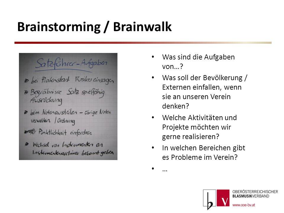 Brainstorming / Brainwalk Was sind die Aufgaben von…? Was soll der Bevölkerung / Externen einfallen, wenn sie an unseren Verein denken? Welche Aktivit