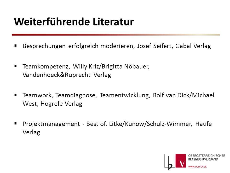 Weiterführende Literatur Besprechungen erfolgreich moderieren, Josef Seifert, Gabal Verlag Teamkompetenz, Willy Kriz/Brigitta Nöbauer, Vandenhoeck&Rup