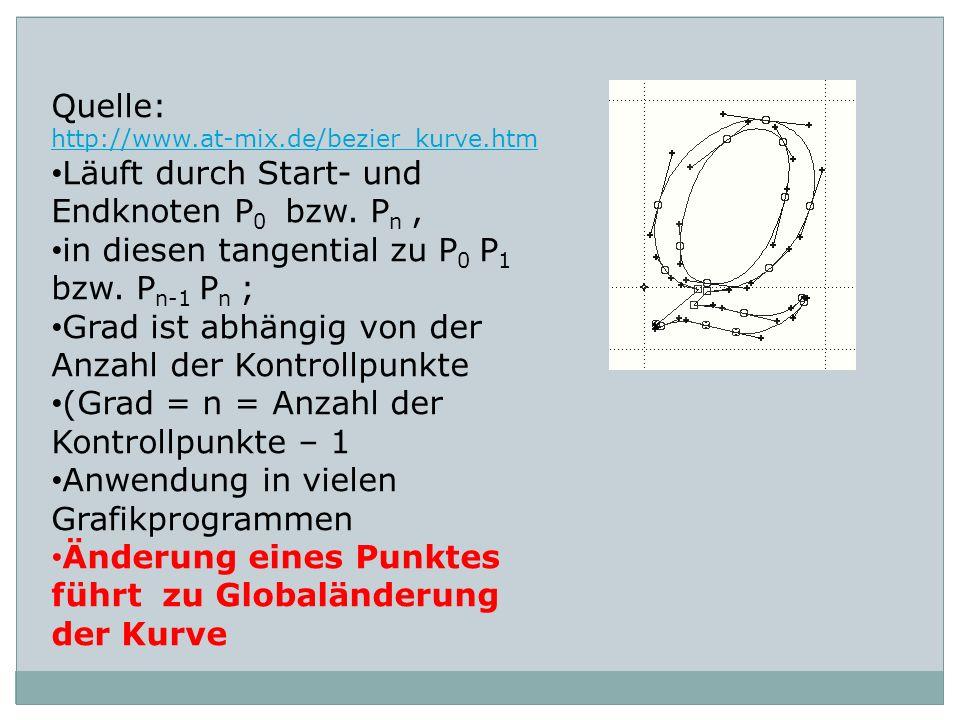 Quelle: http://www.at-mix.de/bezier_kurve.htm Läuft durch Start- und Endknoten P 0 bzw. P n, in diesen tangential zu P 0 P 1 bzw. P n-1 P n ; Grad ist