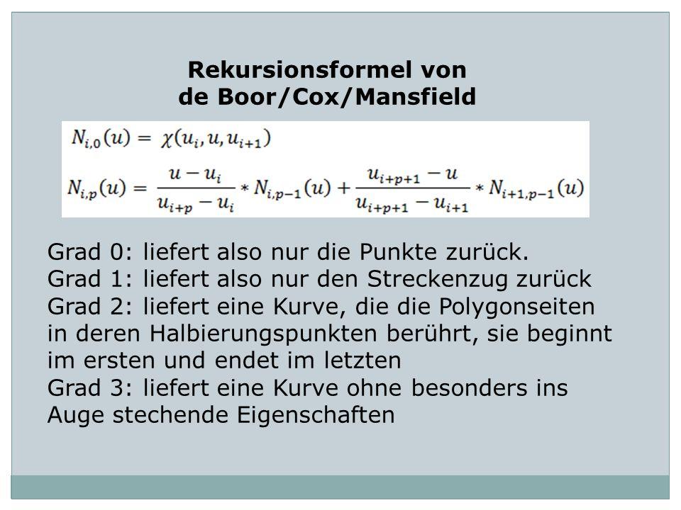 Rekursionsformel von de Boor/Cox/Mansfield Grad 0: liefert also nur die Punkte zurück. Grad 1: liefert also nur den Streckenzug zurück Grad 2: liefert