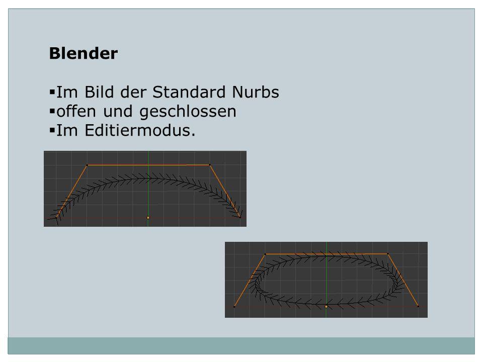 Blender Im Bild der Standard Nurbs offen und geschlossen Im Editiermodus.
