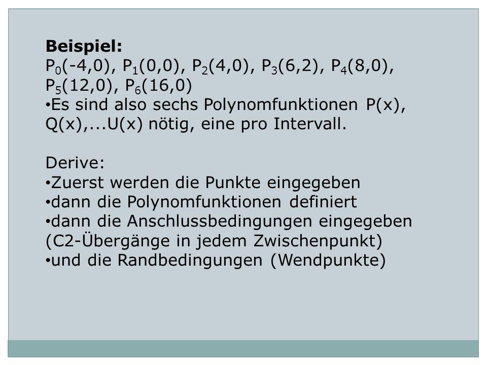 Beispiel: P 0 (-4,0), P 1 (0,0), P 2 (4,0), P 3 (6,2), P 4 (8,0), P 5 (12,0), P 6 (16,0) Es sind also sechs Polynomfunktionen P(x), Q(x),...U(x) nötig