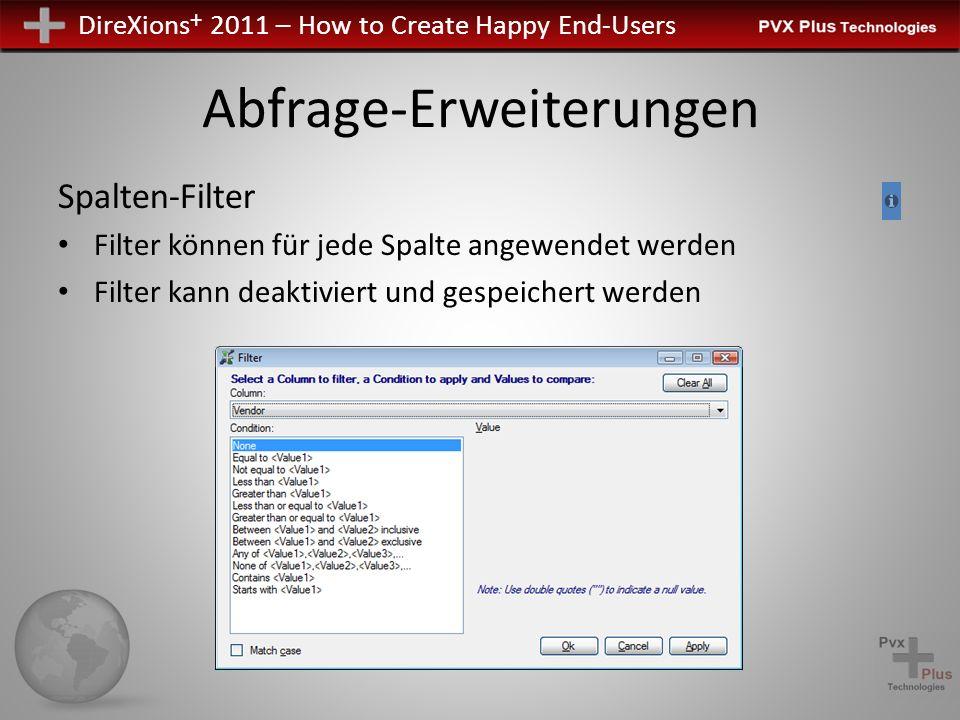 DireXions + 2011 – How to Create Happy End-Users Abfrage-Erweiterungen Spalten-Filter Filter können für jede Spalte angewendet werden Filter kann deaktiviert und gespeichert werden