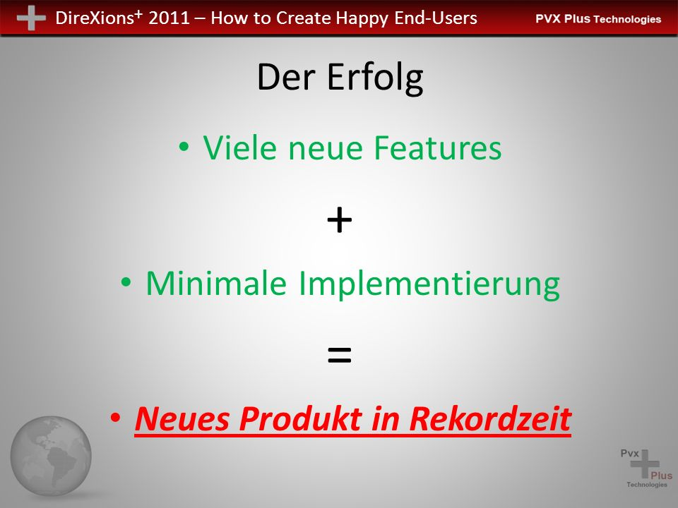 DireXions + 2011 – How to Create Happy End-Users Der Erfolg Viele neue Features + Minimale Implementierung = Neues Produkt in Rekordzeit