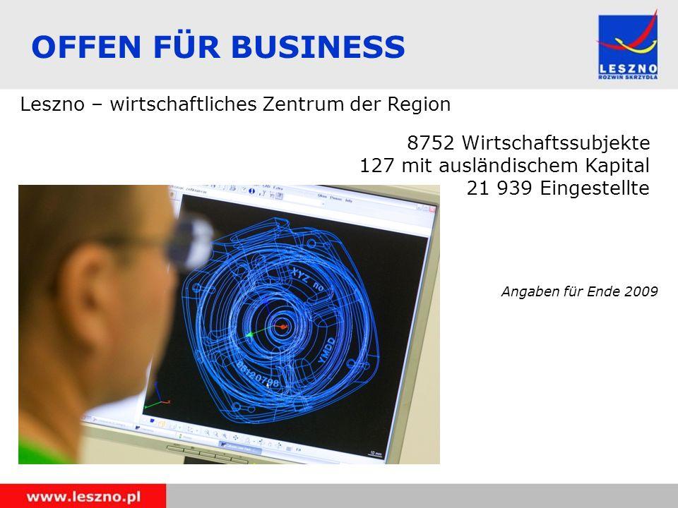 OFFEN FÜR BUSINESS Leszno – wirtschaftliches Zentrum der Region 8752 Wirtschaftssubjekte 127 mit ausländischem Kapital 21 939 Eingestellte Angaben für Ende 2009