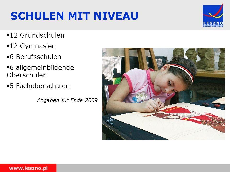 SCHULEN MIT NIVEAU 12 Grundschulen 12 Gymnasien 6 Berufsschulen 6 allgemeinbildende Oberschulen 5 Fachoberschulen Angaben für Ende 2009