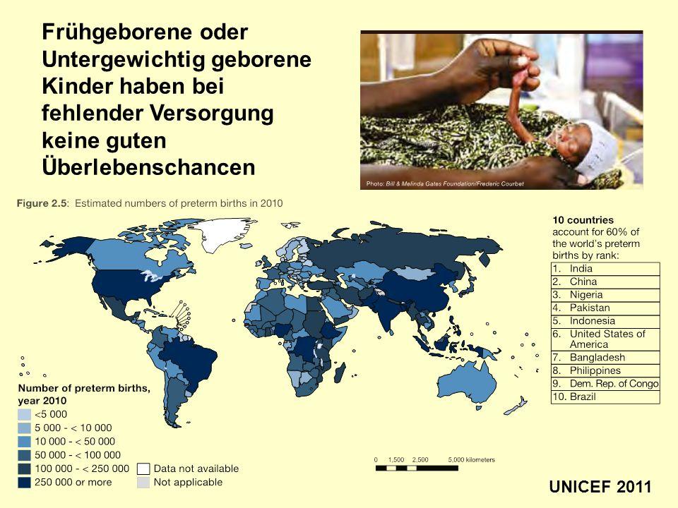 Frühgeborene oder Untergewichtig geborene Kinder haben bei fehlender Versorgung keine guten Überlebenschancen UNICEF 2011
