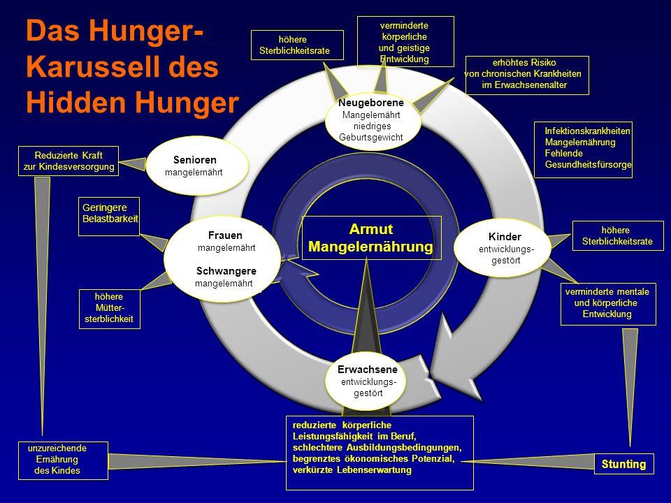 höhere Mütter- sterblichkeit Frauen mangelernährt Schwangere mangelernährt Neugeborene Mangelernährt niedriges Geburtsgewicht Armut Mangelernährung Kinder entwicklungs- gestört Erwachsene entwicklungs- gestört Geringere Belastbarkeit