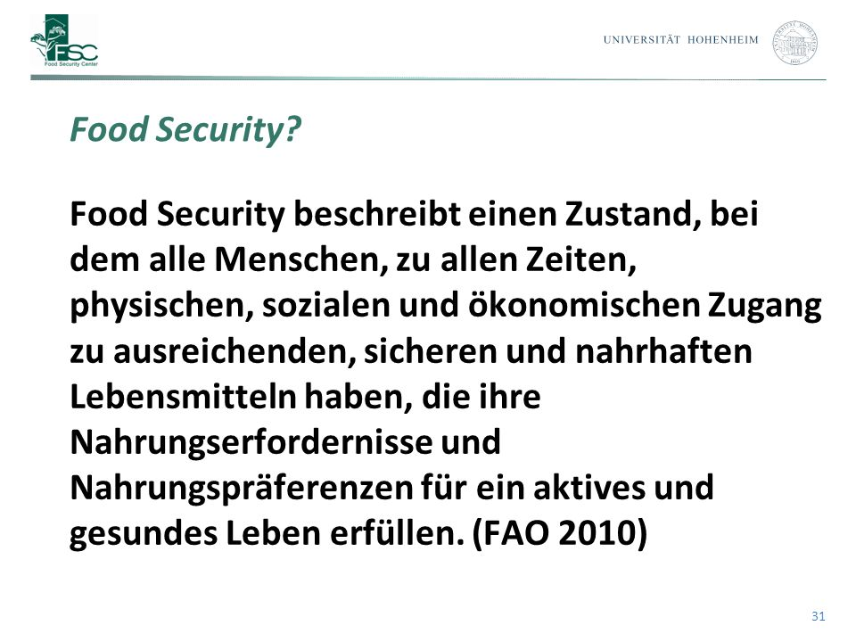31 Food Security.