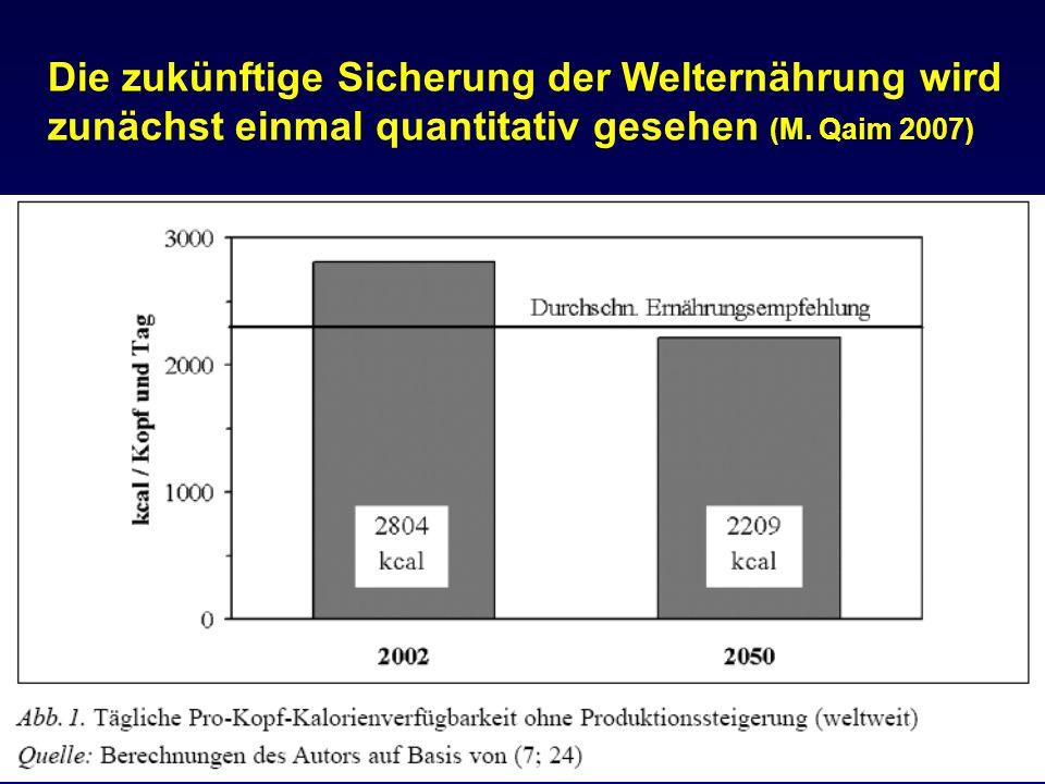 Die zukünftige Sicherung der Welternährung wird zunächst einmal quantitativ gesehen (M. Qaim 2007)