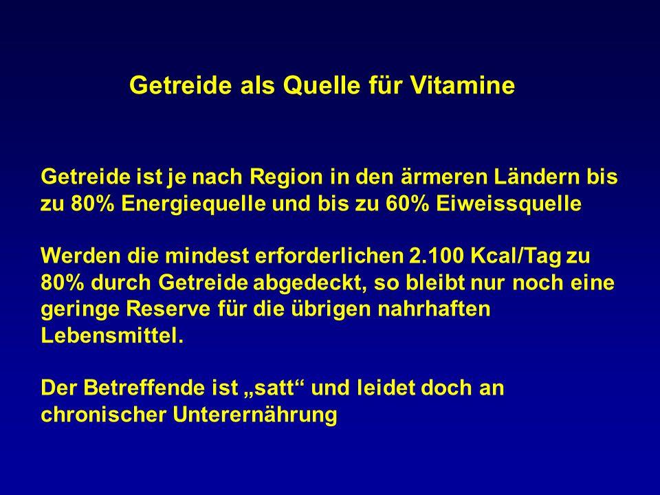 50 % 0 4 % 25 % Vitamin B1Vitamin B6Folsäure 26 % RDA In 100g Mais enthaltene Vitamine 25% 0 10 % 7 % Vit AVit EFols.EisenZink 0 % RDA In 100g Reis enthaltene Vitamine