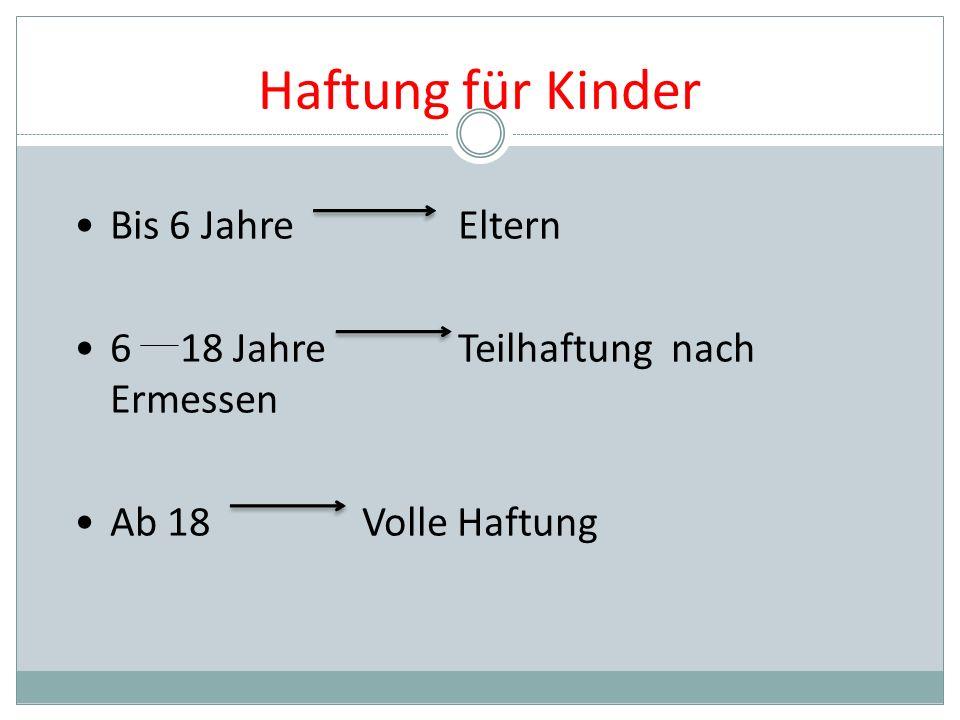 Haftung für Kinder Bis 6 JahreEltern 6 18 JahreTeilhaftung nach Ermessen Ab 18Volle Haftung