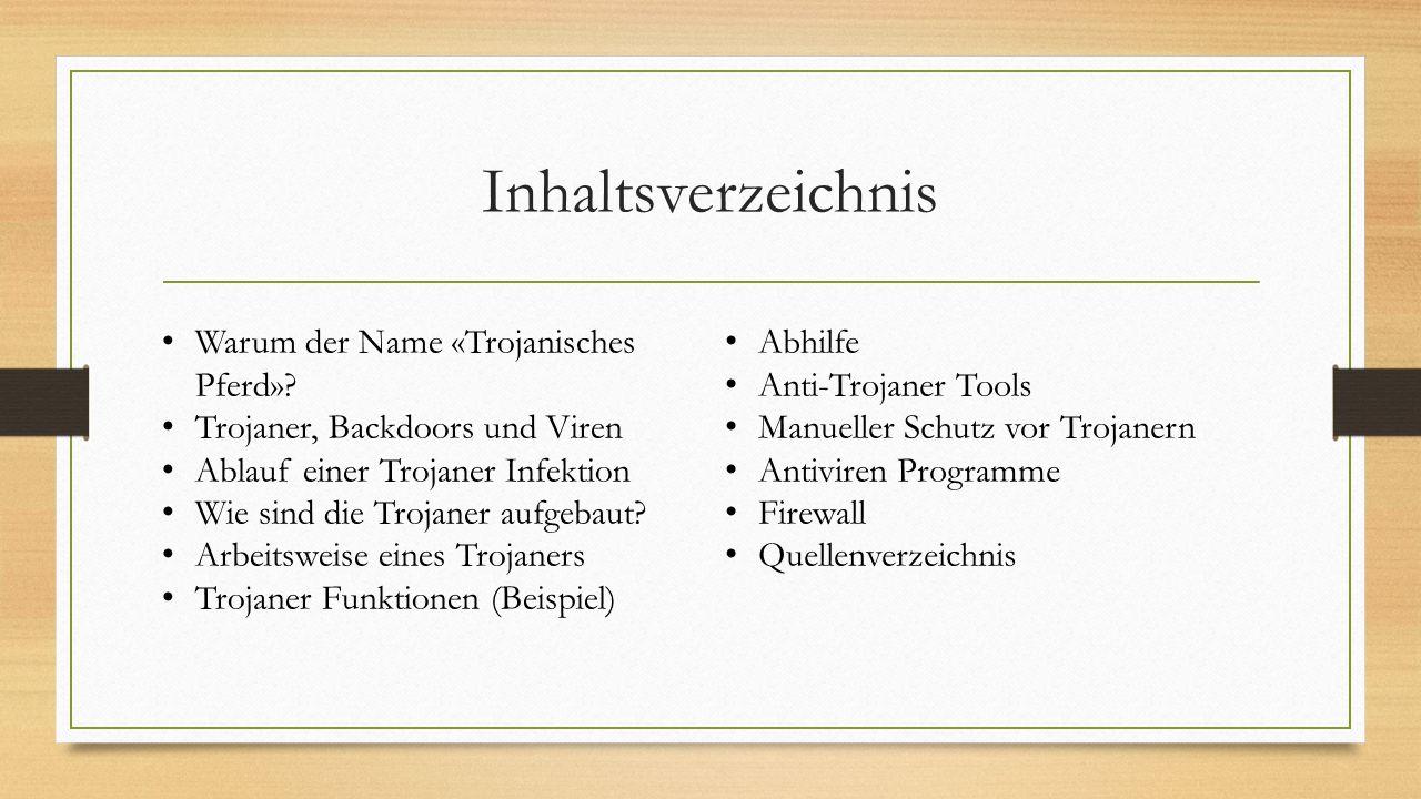 Inhaltsverzeichnis Warum der Name «Trojanisches Pferd»? Trojaner, Backdoors und Viren Ablauf einer Trojaner Infektion Wie sind die Trojaner aufgebaut?