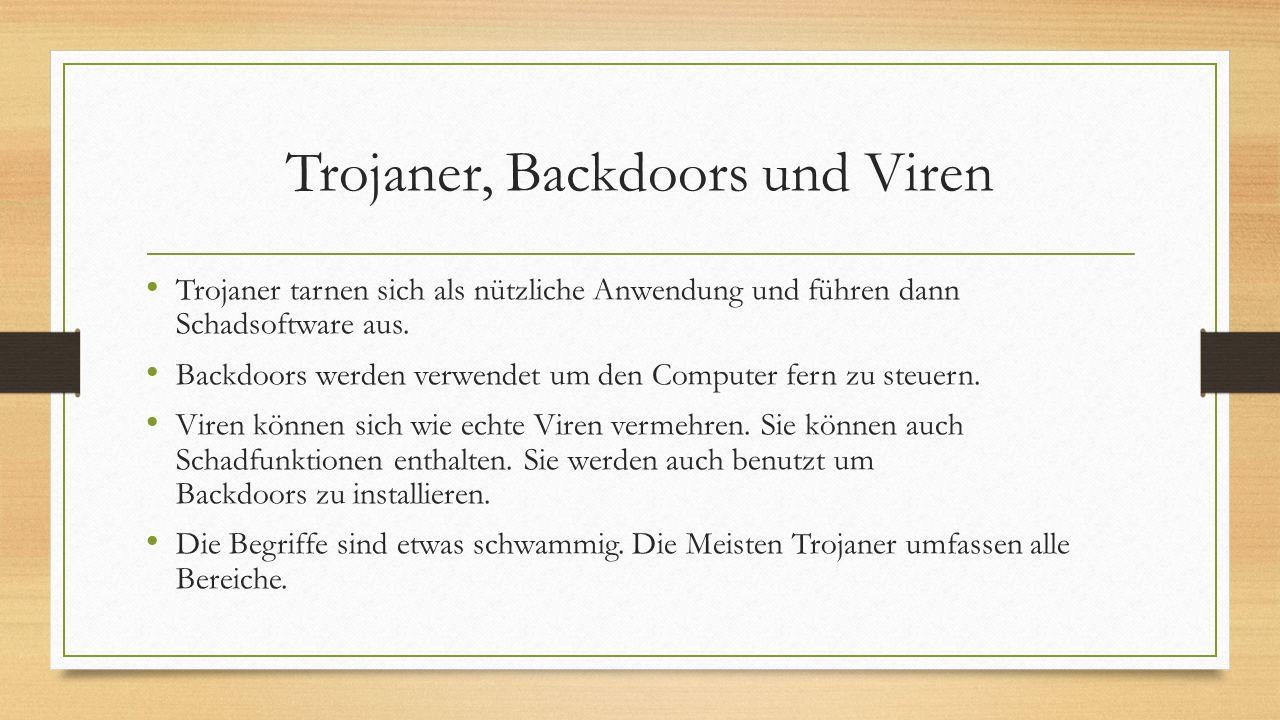 Trojaner, Backdoors und Viren Trojaner tarnen sich als nützliche Anwendung und führen dann Schadsoftware aus. Backdoors werden verwendet um den Comput